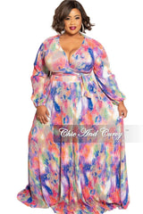 Final Sale Plus Size 2-Piece Pleated Faux Wrap Bow Tie Top and Skirt Set in Multi Color Print