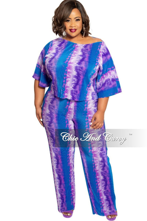 New Plus Size 2-Piece Pleated Top and Pants Set in Purple and Blue Tie Dye Print