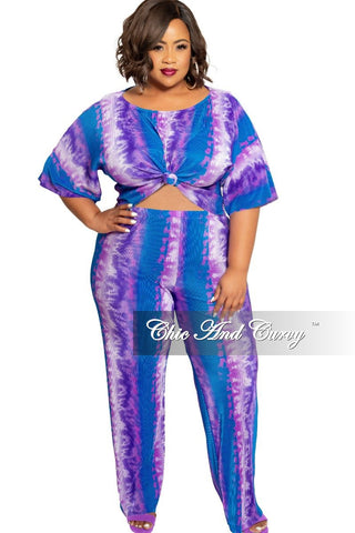Final Sale Plus Size Halter Spaghetti Strap Jumpsuit with Wide Legs in Teal Green and Pink Leaf Print