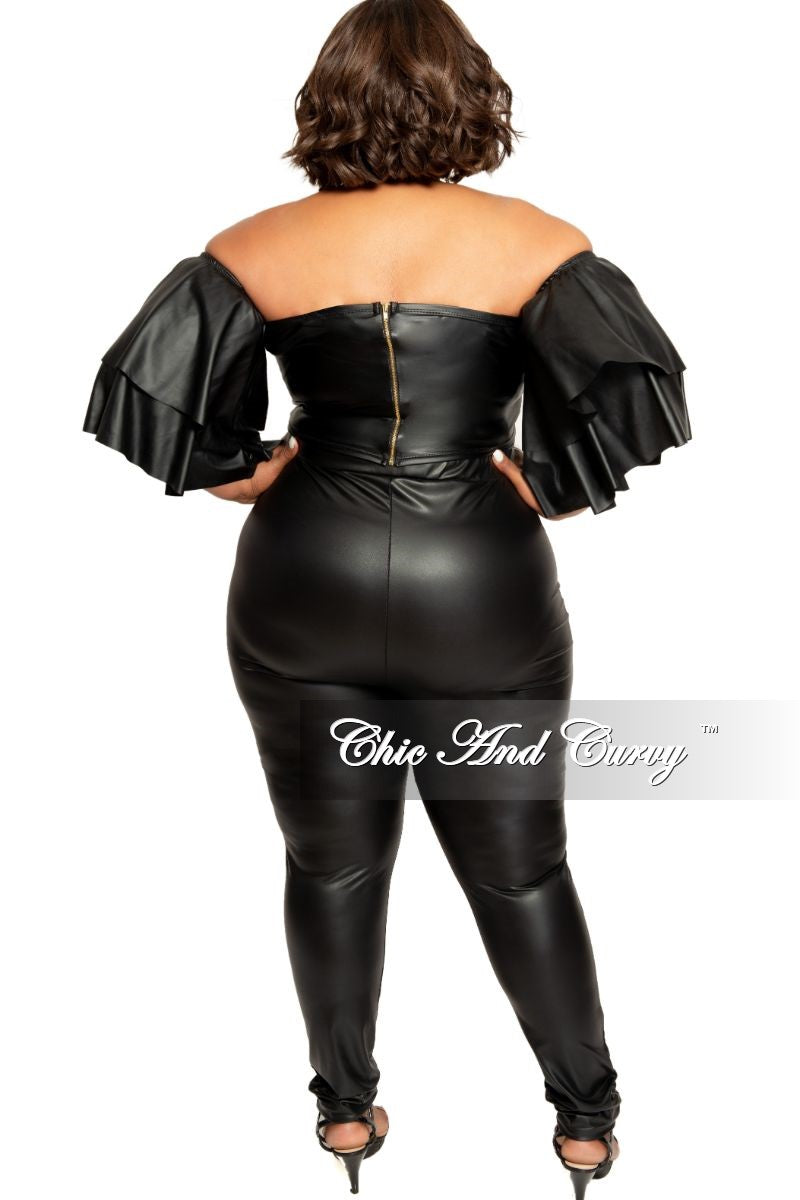 Final Sale Plus Size Liquid Faux Leather Off the Shoulder Ruffle Top in Black