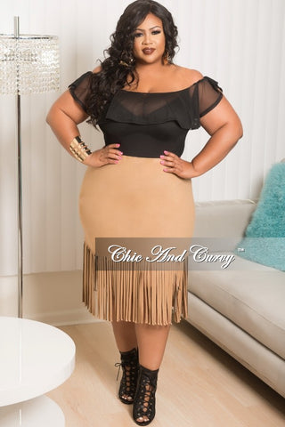 Final Sale Plus Size Long Sleeve Sheer Bodysuit in Tan and Black