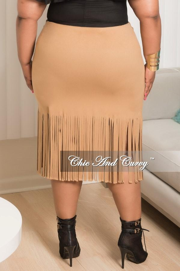 Final Sale Plus Size Faux Suede Fringe Skirt in Tan