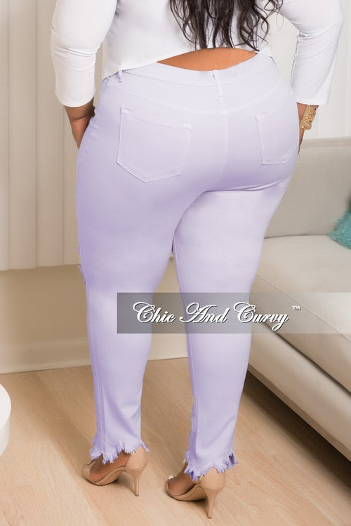 New Plus Size Distressed Jeans in Lavender Purple