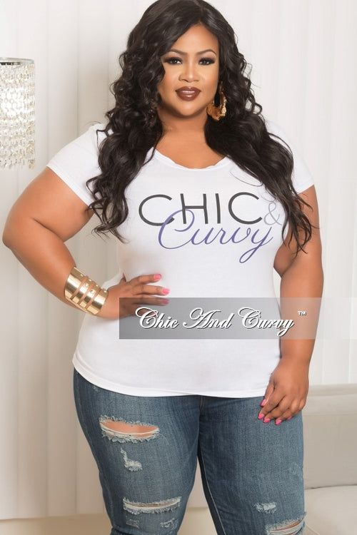 Final Sale  Plus Size Short Sleeve Scoop Neck Chic & Curvy T-Shirt in White, Black and Purple