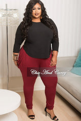 New Plus Size Pants in Burgundy