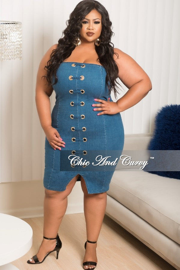 Final Sale Plus Size Tube Dress with Front Eyelet and Slit in Denim