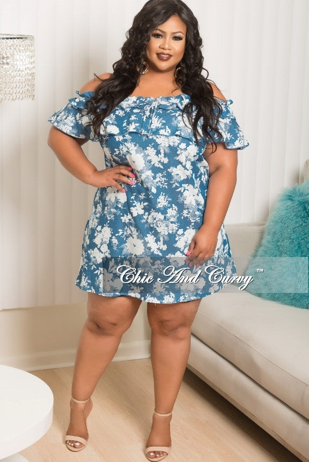 New Plus Size Off The Shoulder Dress / Tunic Top in Light Denim & White Print
