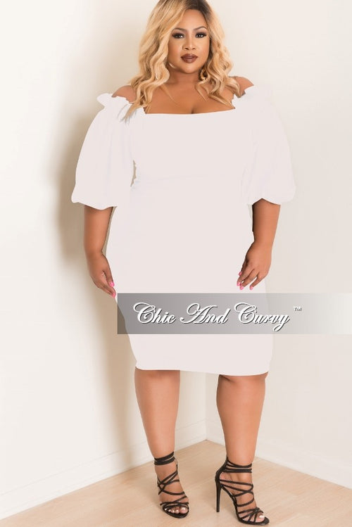 Final Sale Plus Size BodyCon Off the Shoulder Ruffle Dress in Off White