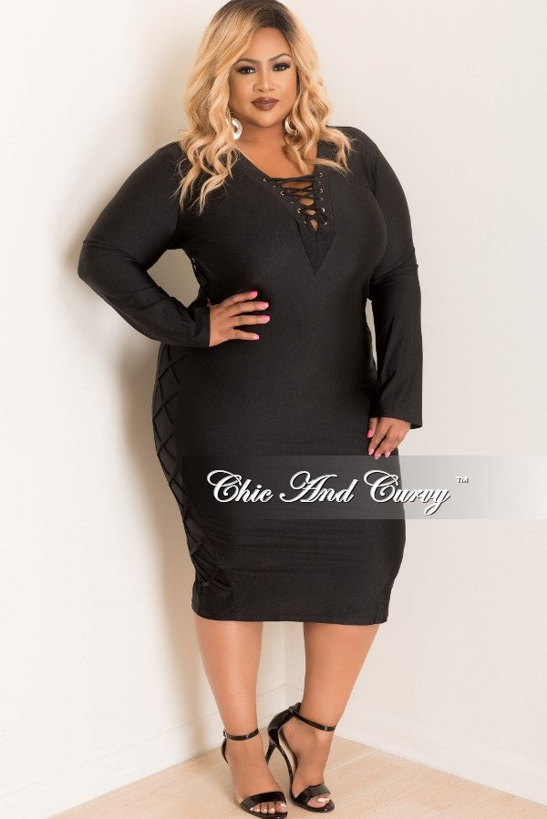 Final Sale Plus Size BodyCon Dress with Criss Cross Sides and Bust in Black