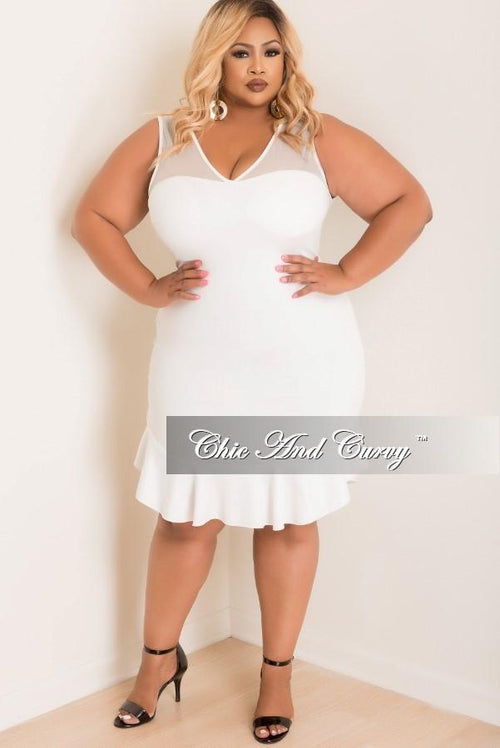 Final Sale Plus Size Mesh BodyCon Dress with Ruffle Bottom in Off White