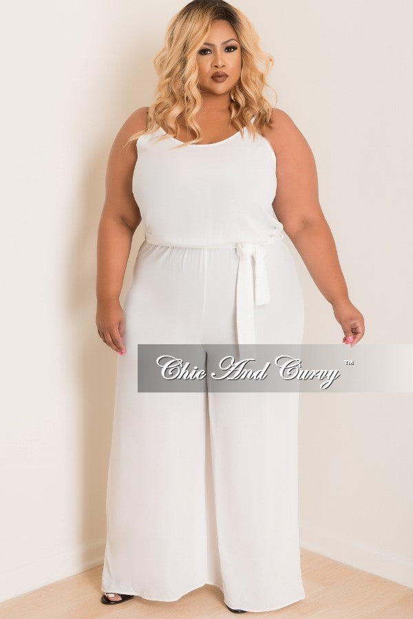 Final Sale Plus Size Sleeveless Jumpsuit with Attached Tie and Ruffle Back in White