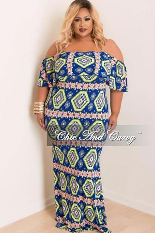 50% Off Sale - Final Sale Plus Size BodyCon Long Dress with Off the Shoulder Ruffle in Royal Blue, Neon Green and Neon Pink