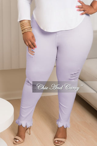 New Plus Size Distressed Jeans in Lavender