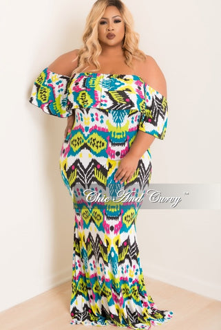 50% Off Sale - Final Sale Plus Size BodyCon Long Dress with Off the Shoulder Ruffle in Turquoise, Pink, and Lime Green
