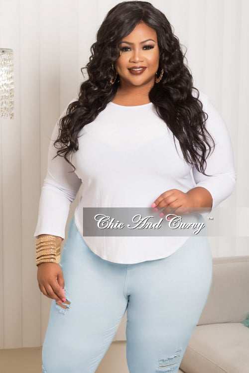 Final Sale Plus Size Top with High/Low Cropped Back in White