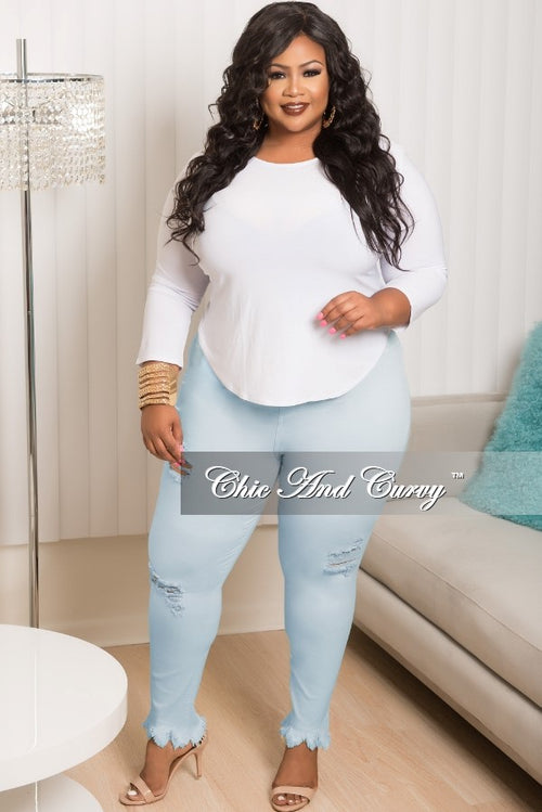 New Plus Size Distressed Jeans in Light Blue