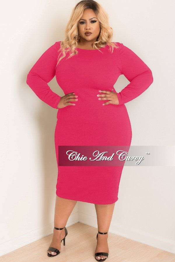 New Plus Size Textured BodyCon Dress with Long Sleeves in Hot Pink