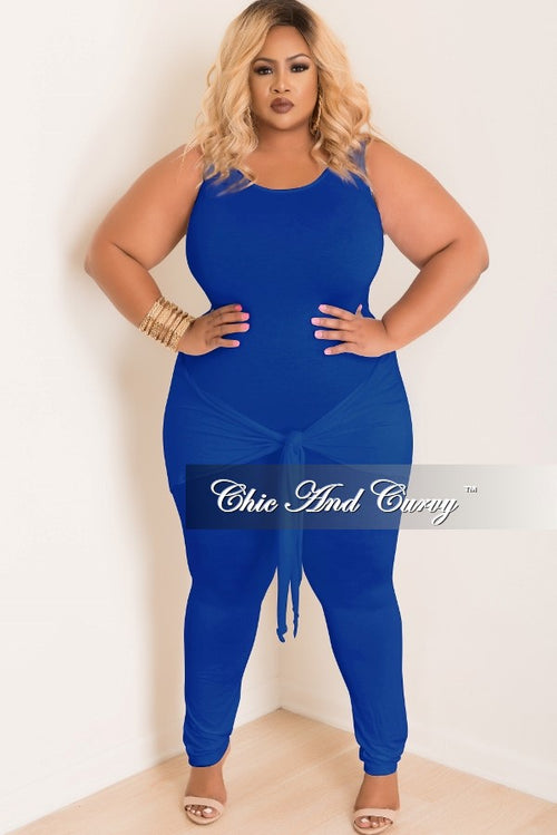 New Plus Size Jumpsuit with Attached Tie in Royal Blue