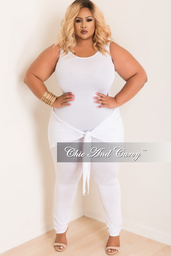 Final Sale Plus Size Jumpsuit With Attached Tie In White Chic And