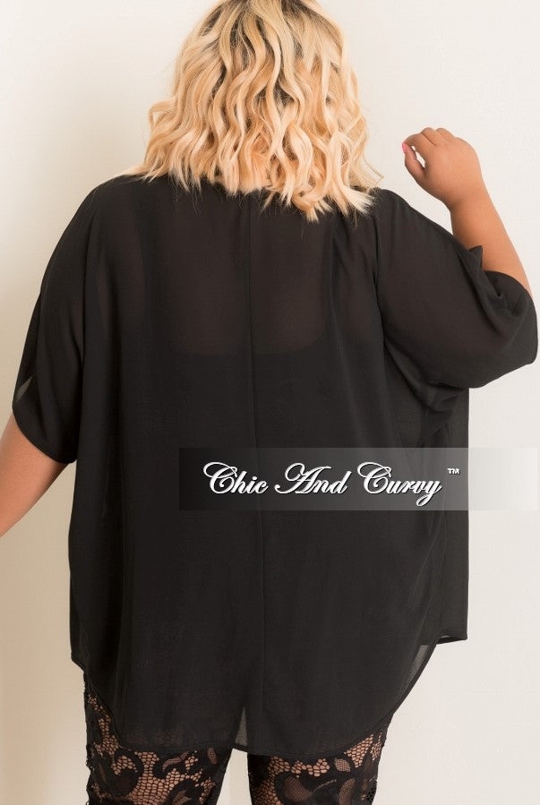 New Plus Size Sheer Kimono in Black
