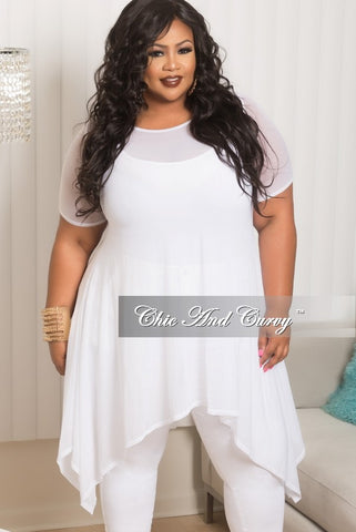 Final Sale Plus Size Mesh High Low Top in White