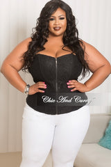 Final Sale Plus Size Strapless Zip Up Bustier Corset Top in Black