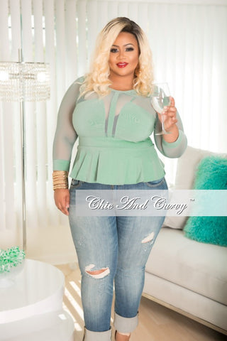 New Plus Size Distressed Boyfriend Jeans in Light Denim