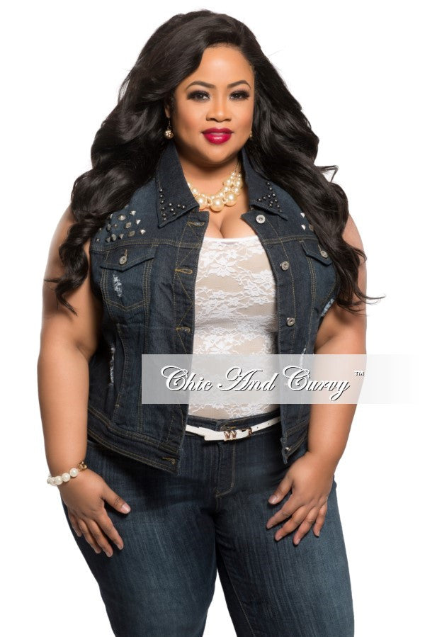 New Plus Size Studded Ripped Vest in Dark Denim