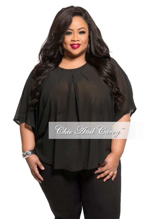 Final Sale Plus Size Sheer Top in Black