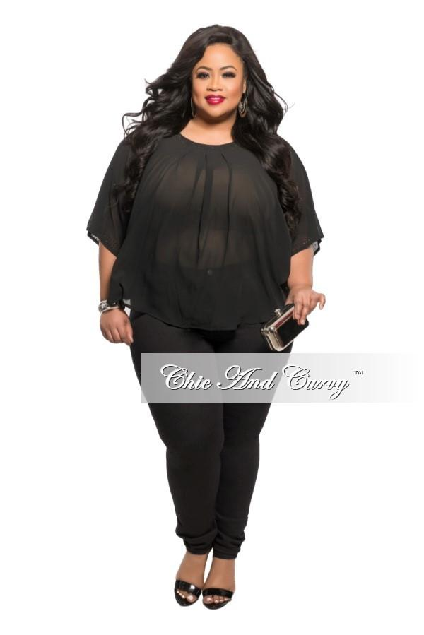 New Plus Size Sheer Top in Black