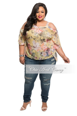 New Plus Size Plus Size Open Shoulder Top with Spaghetti Straps in Yellow Floral Print