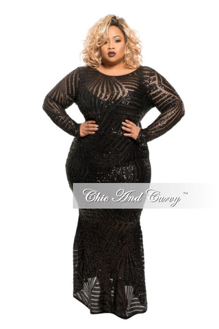 New Plus Size Long Sleeve BodyCon Black Dress with Sheer Sequin Front