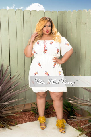 New Plus Size Dress in Off White, Red, Blue and Yellow