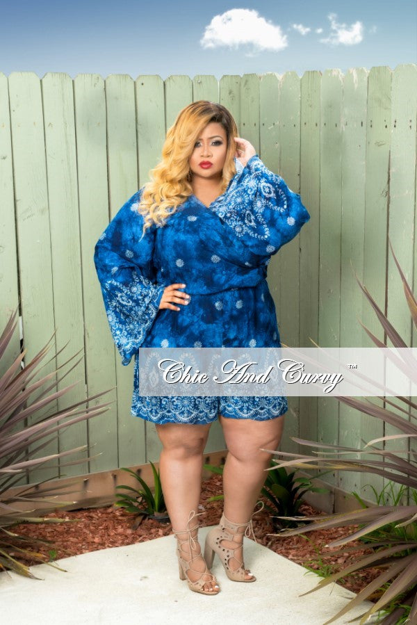 35% Off Sale - Final Sale  Plus Size Deep-V Bell Sleeve Romper in Indigo Blue