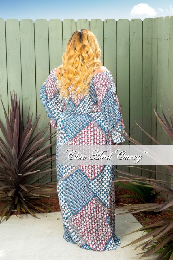 New Plus Size Off the Shoulder Maxi Dress in Off White, Blue & Red Multi Print