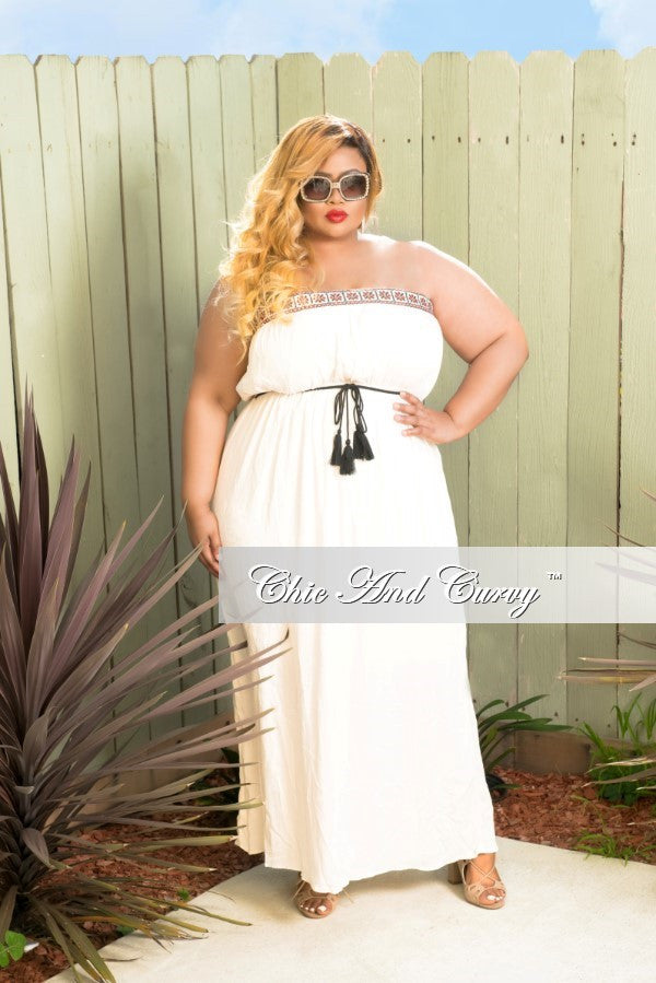 Final Sale Plus Size Strappy Maxi Dress w/ Tassle Tie in Ivory