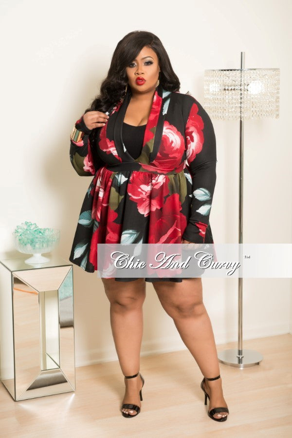 Final Plus Size Skater Dress in Black Burgundy Olive and Teal Floral Print