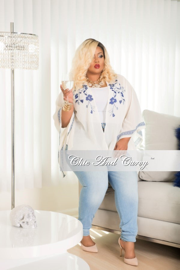 Final Sale Plus Size Embroidered Cover Up in Ivory and Navy