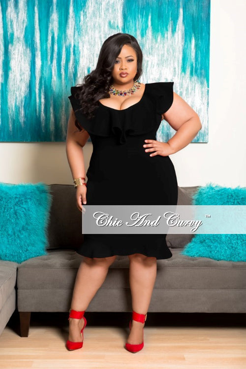 35% Off Sale - Final Sale Plus Size Off the Shoulder BodyCon Dress in Black
