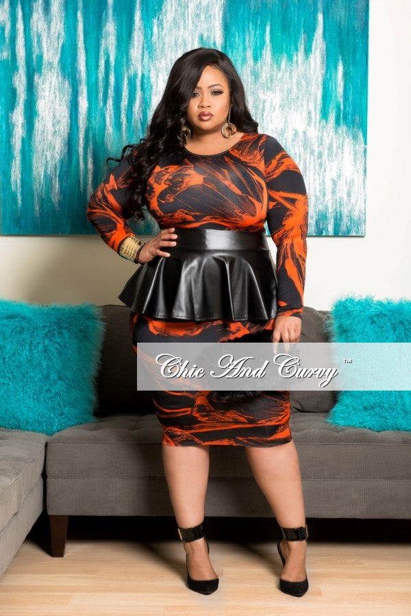 New Plus Size BodyCon Dress with Liquid Peplum Skirt in Black and Orange Print