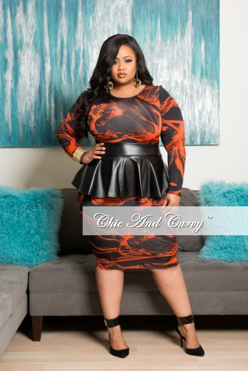 35% Off Sale - Final Sale Plus Size BodyCon Dress with Liquid Peplum Skirt in Black and Orange Print