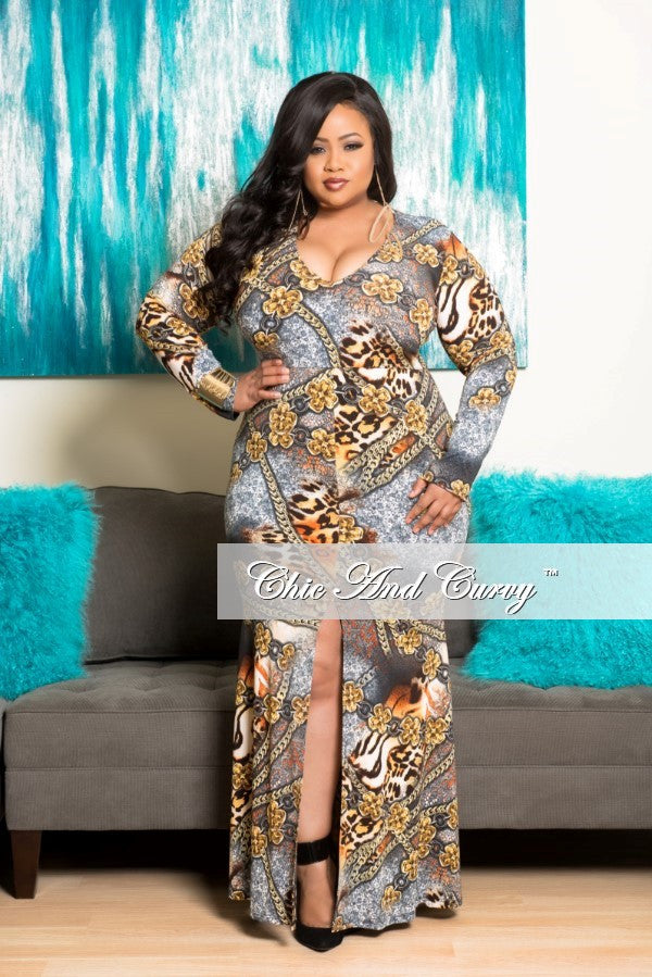 New Plus Size Long Gown with Center Slit and V-Neck Dress in Mustard and Orange Chain Print