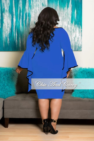 New Plus Size BodyCon Dress with Angel Sleeve in Royal Blue with Black Trim