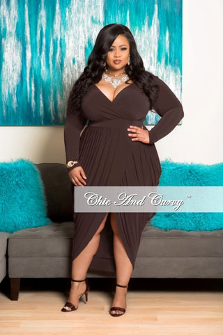 New Plus Size Dress with Long Sleeve and Harem Draping in Brown