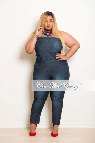 New Plus Size Strapless Jumpsuit in Denim