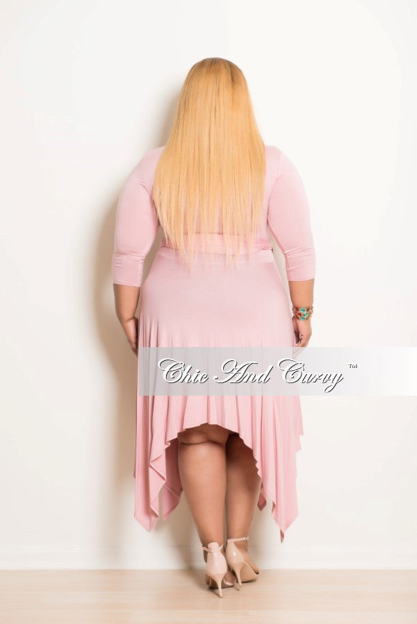 New Plus Size Dress with Handkerchief Bottom and V Neck in Rose Pink