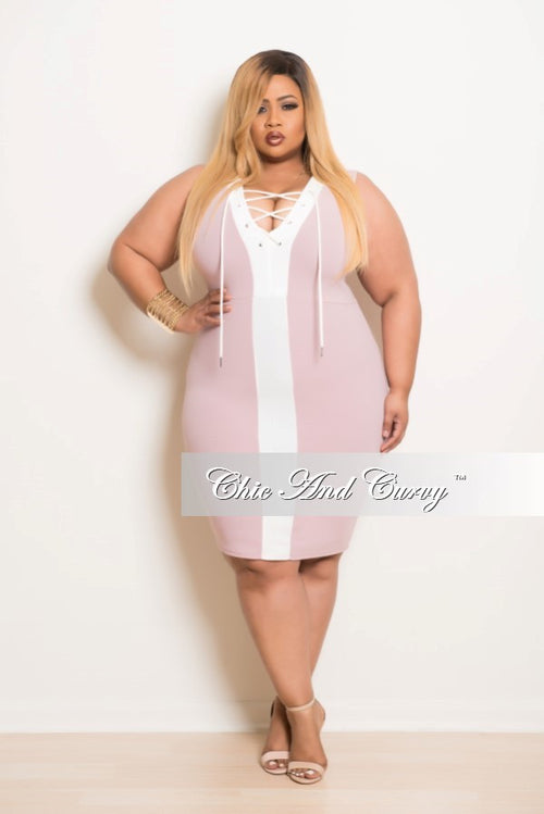 New Plus Size BodyCon Dress with Front Cutouts in Rose and  Off White