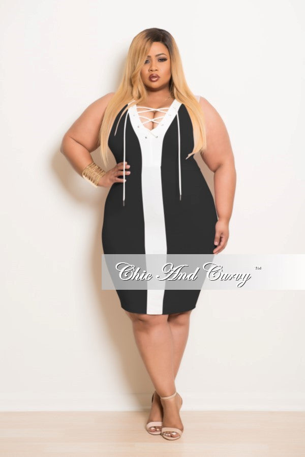 16d8947bece Final Sale Plus Size BodyCon Dress with Front Cutouts in Black and Off –  Chic And Curvy