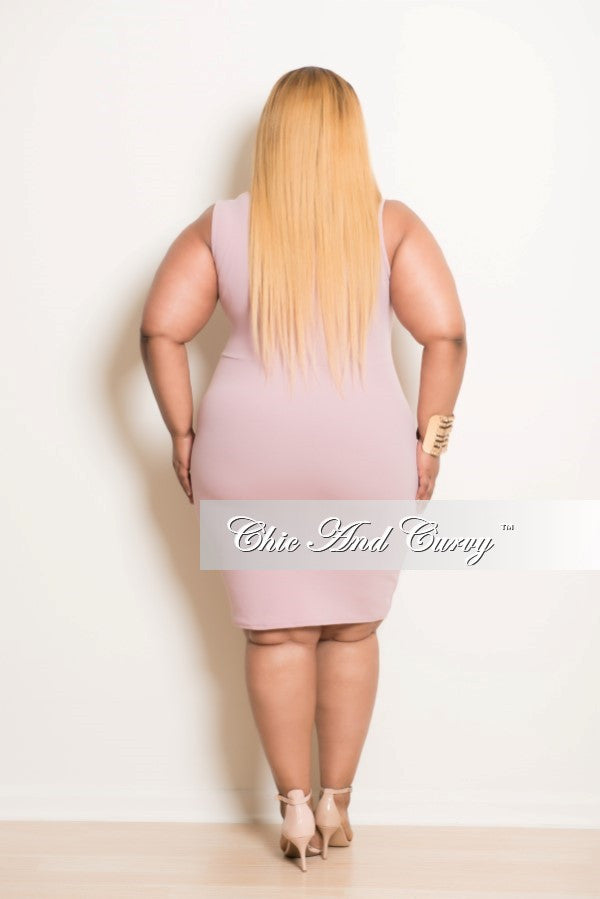 Final Sale Plus Size BodyCon Dress with Front Cutouts in Rose and  Off White