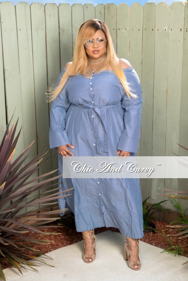 Final Sale Plus Size Off the Shoulder Dress in Blue and White Stripes